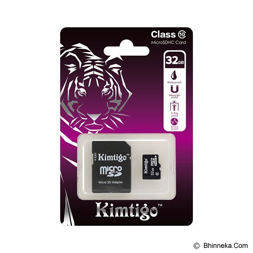 KIMTIGO MicroSD 32GB Class 10 + SD Adapter [KTT-M10] - Micro Secure Digital / Micro Sd Card